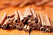 Close up of sticks of cinnamon