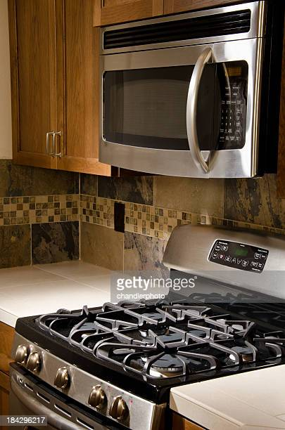 Close up of stove and tile design