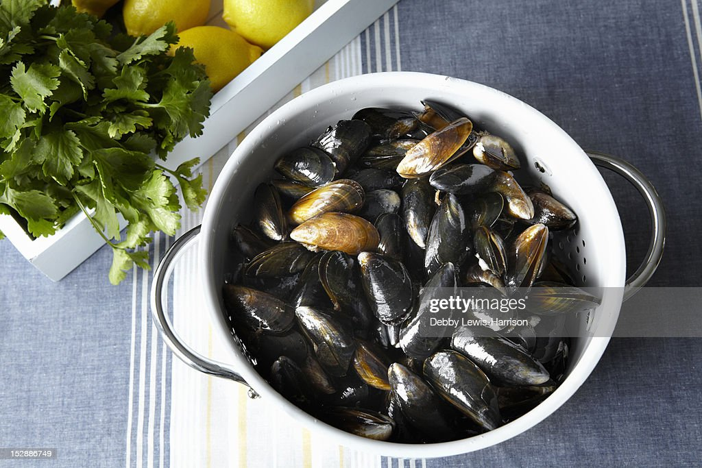 Close up of strainer of mussels