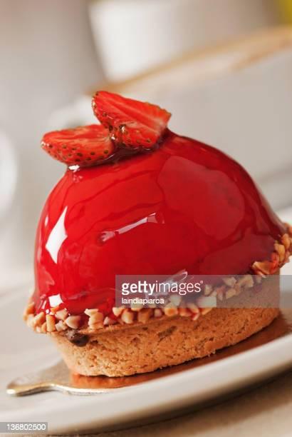 Close up of strawberry dessert