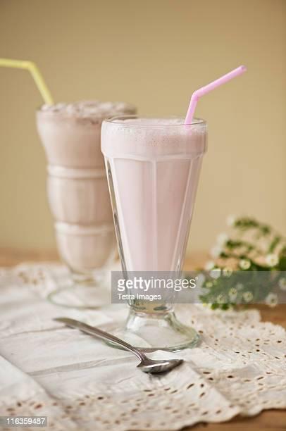 Close up of strawberry ice cream soda