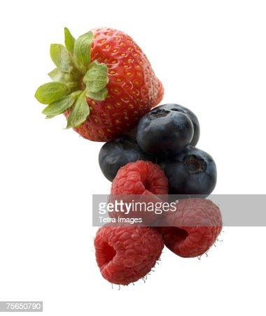 Close up of strawberry, raspberries and blueberries : Stock Photo