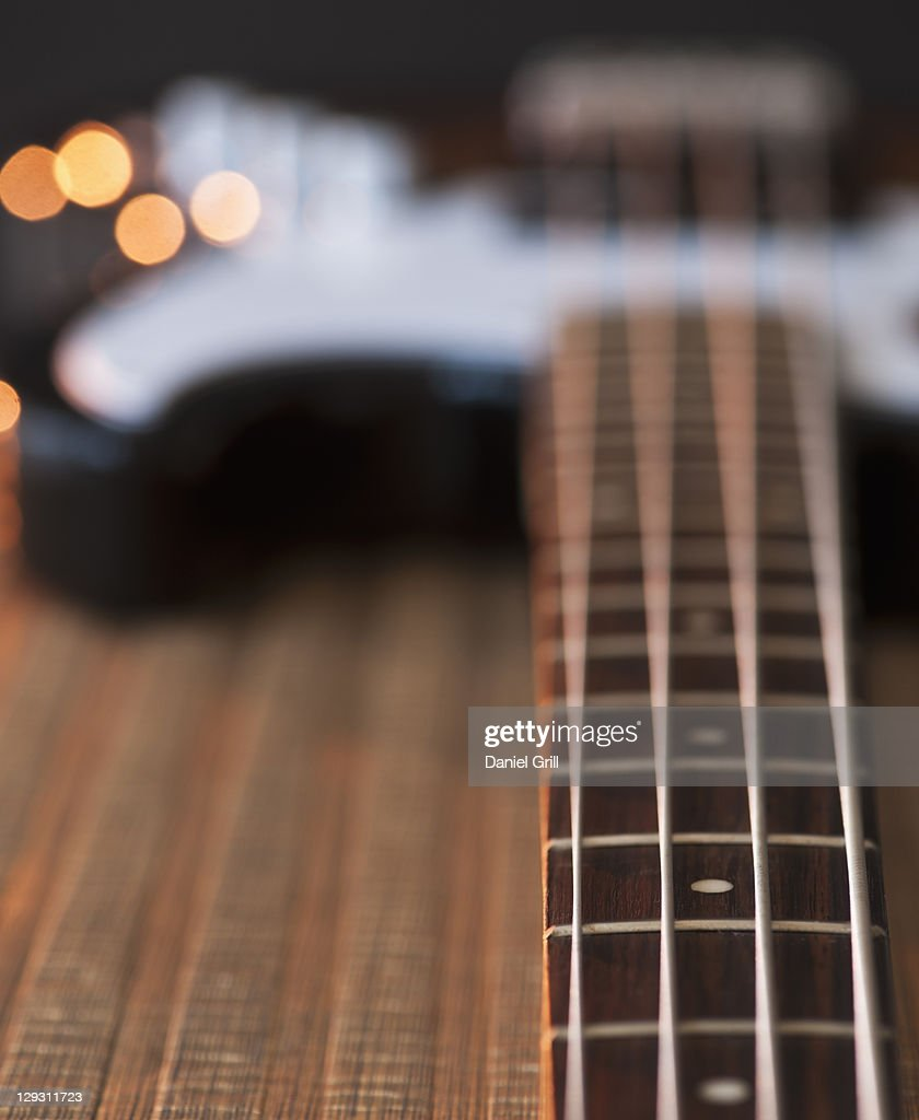 close up of strings of bass guitar stock photo getty images. Black Bedroom Furniture Sets. Home Design Ideas