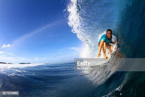 Close up of surfer in barrel