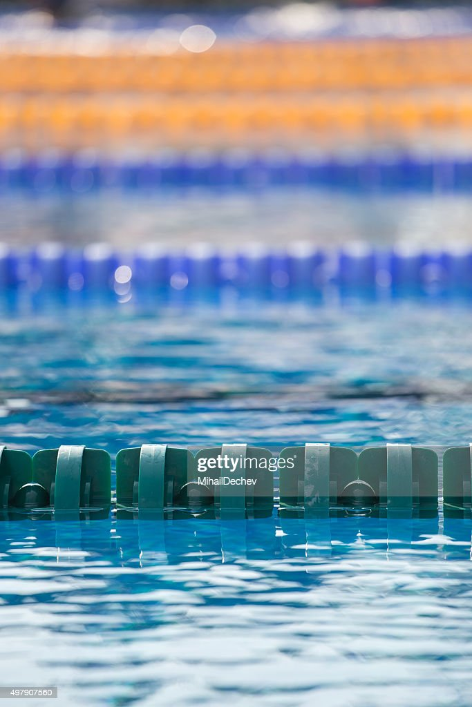 close up of swim lanes in olympic swimming pool stock photo