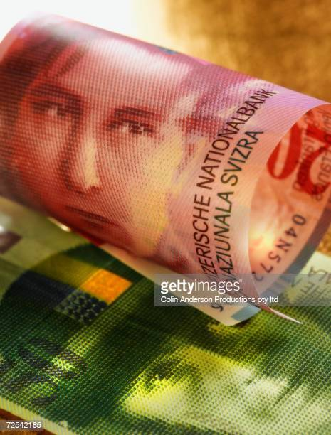Close up of Swiss Francs