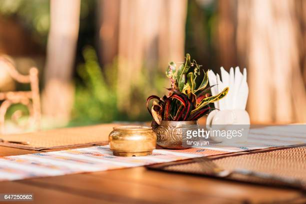 close up of table in restaurant outdoors in South Asia