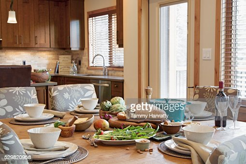 Close up of table with place setting and food : Stock-Foto