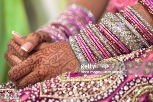 Close up of tattoos on Indian bride's hands : Stock Photo
