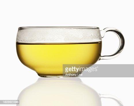 Close up of tea in transparent teacup
