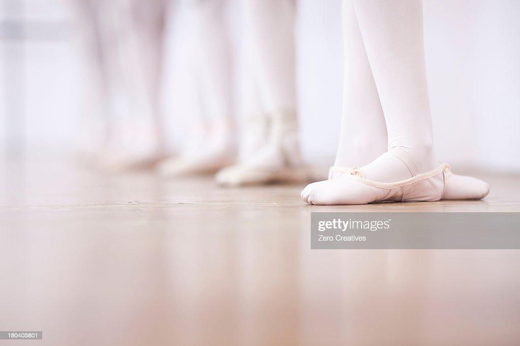 Close up of teenage ballerinas feet poise