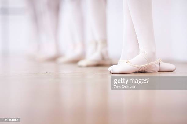 Close up of teenage ballerinas feet poise