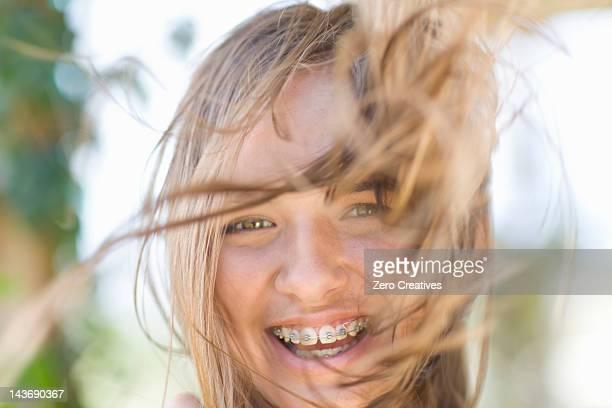 Gros plan d'adolescente de Appareil dentaire