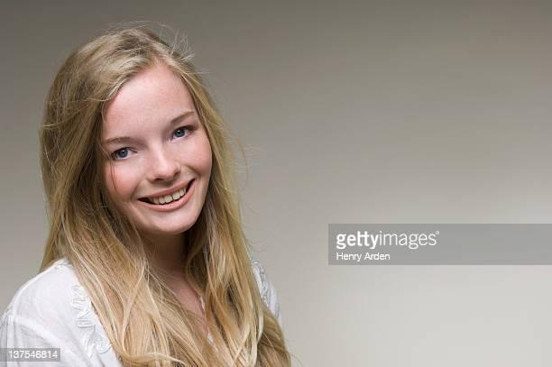 Close up of teenage girls smiling face
