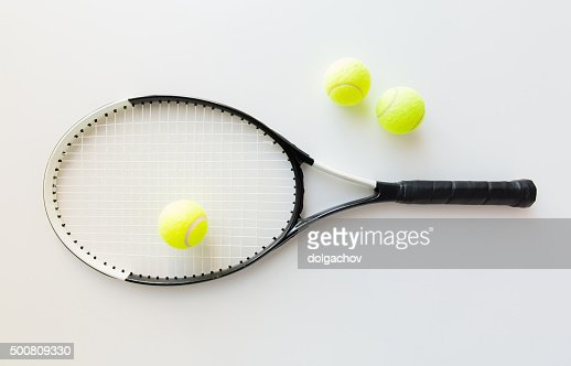 close up of tennis racket with balls : Stock Photo