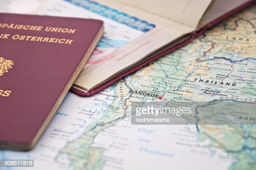 Close Up of Thailand Visum, Passport and Thailand Map : Bildbanksbilder