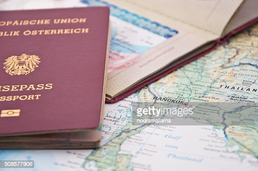 Close Up of Thailand Visum, Passport and Thailand Map : Stockfoto