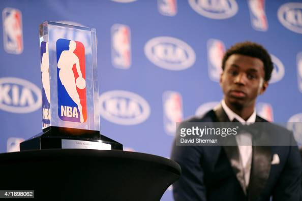 A close up of the 2014 2015 Kia NBA Rookie of the Year Award on April 30 2015 at Target Center in Minneapolis Minnesota NOTE TO USER User expressly...