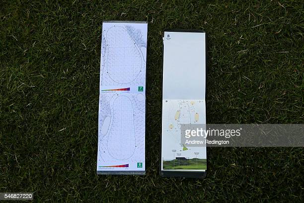 A close up of the 8th hole green and yardage book during previews ahead of the 145th Open Championship at Royal Troon on July 13 2016 in Troon...