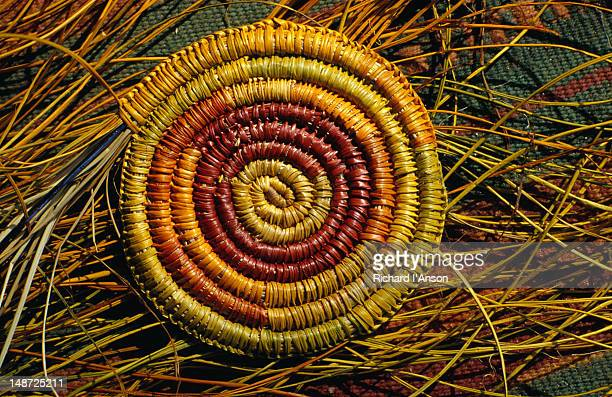 Close up of the base of a basket woven with pandanus leaves, Arnhem Land.