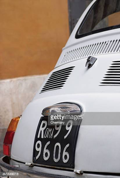 Close Up of the Boot and Number Plate of an Italian Car