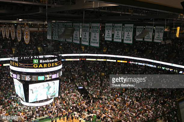 A close up of the Boston Celtics banners that hang prior Game Six of the 2008 NBA Finals on June 17 2008 at TD Banknorth Garden in Boston...