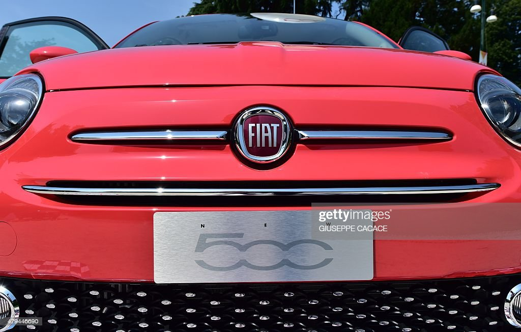 Close up of the calender and logo of the new Fiat 500 constructed by ItalianUS multinational automobile manufacturer Fiat Chrysler Automobiles...
