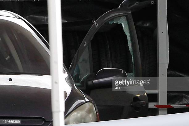 Close up of the door of the car in which Patrick Sorba has been shot dead in a petrol station in Propriano in the French Mediterranean island of...