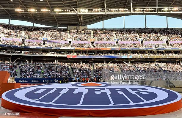 Close up of the Edmonton Oilers logo as they take on the Winnipeg Jets during the 2016 Tim Hortons NHL Heritage Classic at Investors Group Field on...