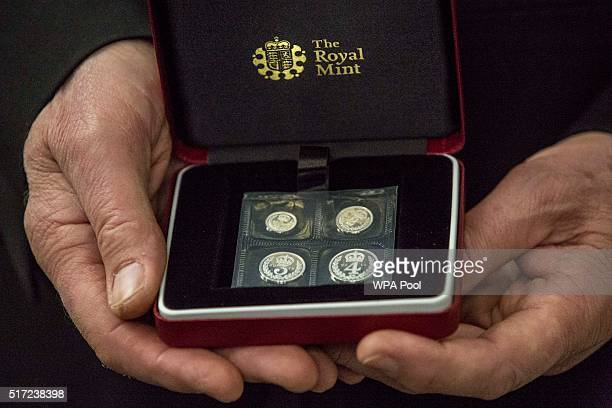 Close up of the especially minted maundy money that The Queen distributed to 180 people 90 men and 90 women symbolising her age during the...