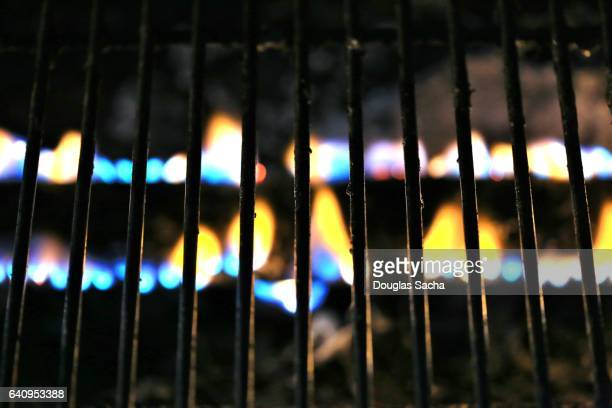 Close up of the flames on a grille