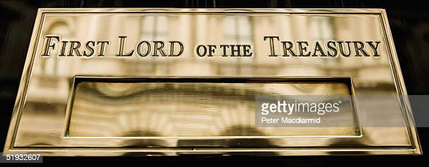 A close up of the front door at number 10 Downing Street home of Britain's Prime Minister bears the legend First Lord of the Treaury January 10 2005...