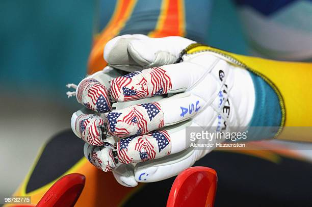A close up of the gloves worn by Erin Hamlin of the United States during the Luge Women's Singles on day 4 of the 2010 Winter Olympics at Whistler...