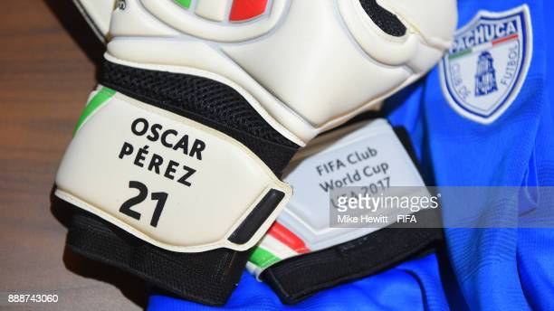 A close up of the goalkeeping gloves of Oscar Perez of CF Pachuca ahead of the FIFA Club World Cup UAE 2017 Second Round Match between CF Pachuca and...