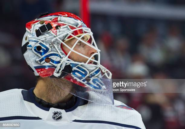 Close up of the helmet of Washington Capitals Goalie Braden Holtby during the NHL game between the Ottawa Senators and the Washington Capitals on Oct...