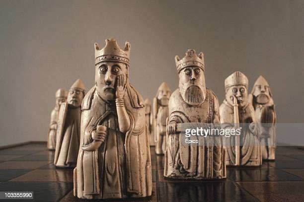 A close up of the Isle Of Lewis Chessmen named after the bay in which they were discovered in 1831 Isle of Lewis Outer Hebrides Scotland circa 1970...
