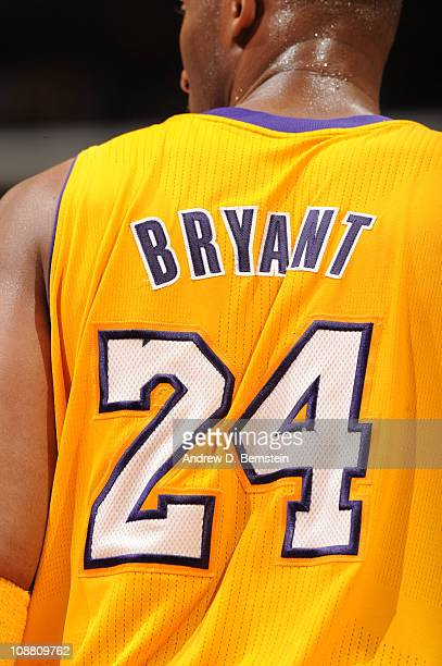 A close up of the jersey of Kobe Bryant of the Los Angeles Lakers is shown during a game against the San Antonio Spurs at Staples Center on February...
