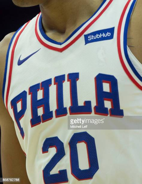 A close up of the jersey of Markelle Fultz of the Philadelphia 76ers during the preseason game against the Memphis Grizzlies at the Wells Fargo...