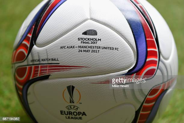 A close up of the match ball ahead of The UEFA Europa League Final between Ajax and Manchester United at Friends Arena on May 23 2017 in Stockholm...