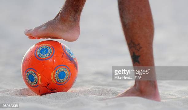 A close up of the match ball during the FIFA Beach Soccer World Cup Quarter Final match between Japan and Portugal at Umm Sequim beach on November 20...