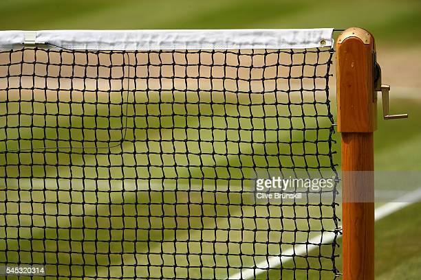 A close up of the net on centre court during the Ladies Singles Semi Final match between Angelique Kerber and Venus Williams of The United States on...