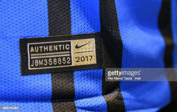 A close up of the New FC Internazionale jersey is seen in store as the FC Internazionale new 2017/18 kit is unveiled at Club Store on May 25 2017 in...