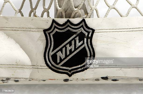 A close up of the NHL Logo on the back of the goal during game action between the Toronto Maple Leafs and the New York Rangers November 10 2007 at...