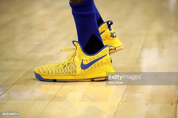 A close up of the Nike shoes worn by Kevin Durant of the Golden State Warriors during their game against the Dallas Mavericks at ORACLE Arena on...