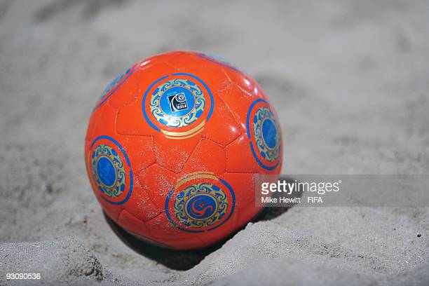 A close up of the official ball during the Group A FIFA Beach Soccer World Cup match between United Arab Emirates and Portugal at the Um Suqaim beach...