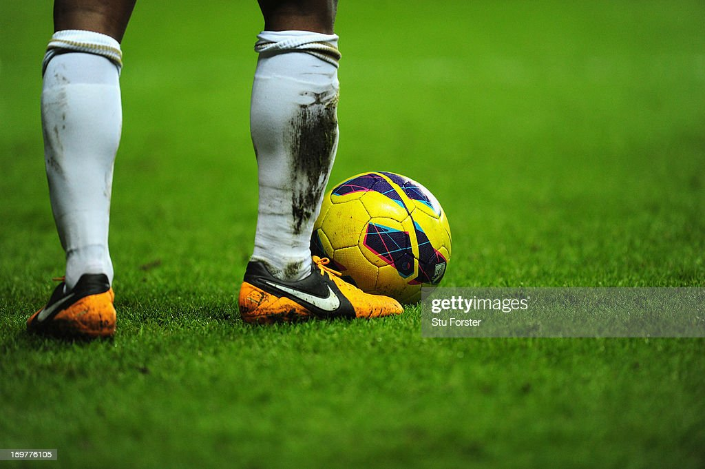 A close up of the official league winter football by Nike during the Barclays Premier League match between Swansea City and Stoke City at Liberty Stadium on January 19, 2013 in Swansea, Wales.