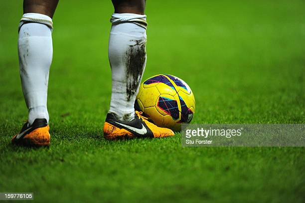A close up of the official league winter football by Nike during the Barclays Premier League match between Swansea City and Stoke City at Liberty...