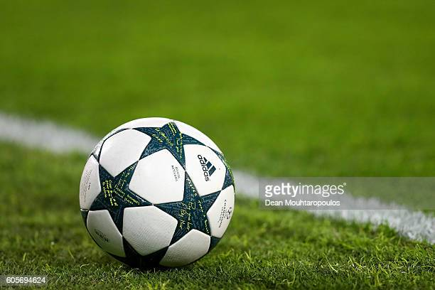 A close up of the official match ball during the UEFA Champions League match between Club Brugge KV and Leicester City FC at Jan Breydel Stadium on...