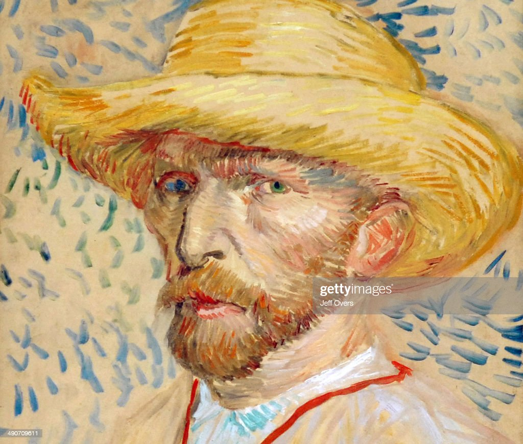 Close up of the painting titled 'SelfPortrait with Straw Hat' in the Van Gogh Museum in Amsterdam Netherlands