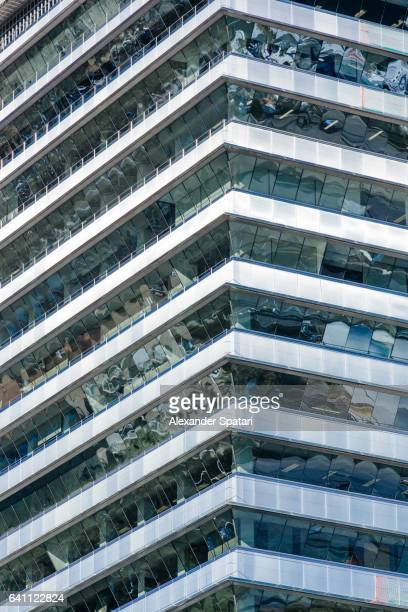 Close up of the panoramic windows in a modern office building